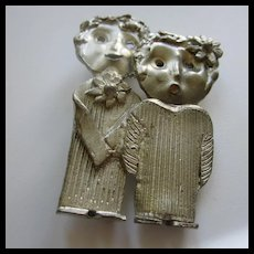 Fabulous Artist Signed Hand Made Pewter Man Woman Brooch