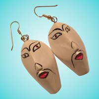 Carved Painted Face Earrings
