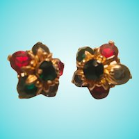 Stunning 1930s Jewel tone Regal Earrings