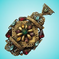 Fabulous Czech Jeweled Impressive Pendant