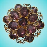 Gorgeous Open Back Purple Amethyst Crystal Dress Clip