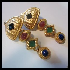 Long Etruscan Style Jeweled Glass Clip Earrings