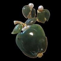 Swaboda signed Jade, Cultured Pearls Apple Brooch & Clip Earrings