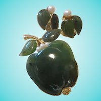 Swaboda signed Jade, Cultured Pearls Apple Brooch & Clip Earrings