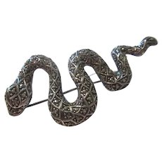 Fabulous Older Sterling Silver Marcasite Snake Brooch Pin
