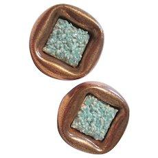 Matisse Signed Turquoise Enamel Copper Clip Earrings