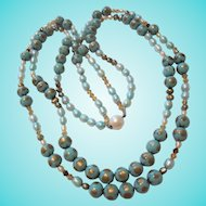 Gorgeous Blue Glass Beads and Pearl Double Strand Necklace