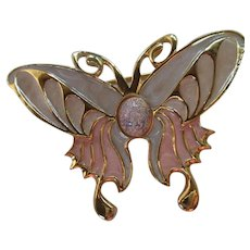 Beautiful Enamel Butterfly fx Opal Brooch