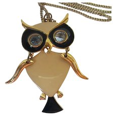 ART Signed Articulated Enamel Owl Pendant Necklace