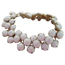 Wonderful White Milk Glass Cabochons Bracelet