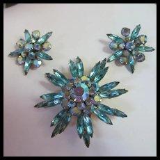 Gorgeous Judy Lee Aqua Capri Starburst Brooch Earrings