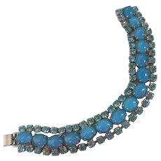 Gorgeous Aqua Blue Moonglow Crystals Bracelet