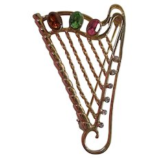 Jeweled Harp Instrument Brooch Pin
