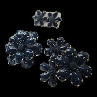 1960s Flower Power Navy Blue Gold trim Enamel Brooches Matching Earrings