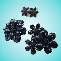 1960s Flower Power Navy Blue Gold trim Enamel Brooches Matching Earrings