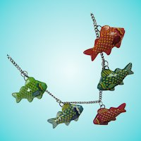 Folksy Colorful Painted Fish Necklace