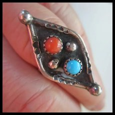 Native American Signed Coral Turquoise Sterling Silver Ring 6 1/2