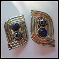 Alexis Kirk Hematite Gold Silver tone Statement Clip Earrings