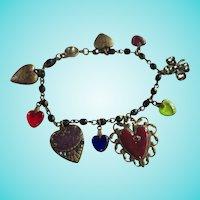 Anne Koplik Signed Hearts Charm Bracelet