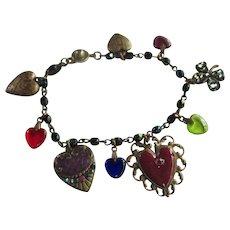 Vintage Anne Koplik Hearts Charm Bracelet