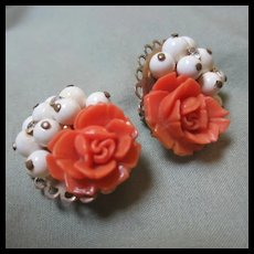 Coral Celluloid Flowers Clip Earrings
