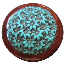 Fabulous Blue Celluloid Flowers Round Brooch