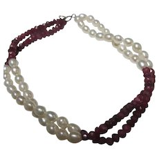 Genuine Pearls Faceted Natural Rubies 14K Clasp Bracelet