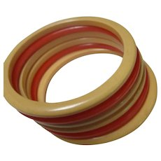 Stack of 6 Bakelite Egg Yolk Orange Bracelets