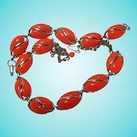 Bright Orange Thermoset Gold tone Necklace & Bracelet Set