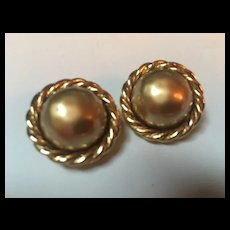 Carolee Golden fx Mabe Pearl Clip Earrings