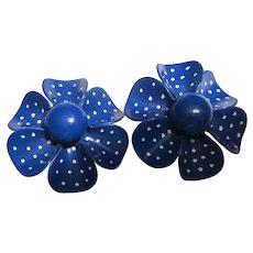 Blue Dot Enamel Flower Power Clip Earrings