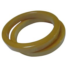 Fabulous Pair Egg Yolk Bakelite Bangle Bracelets