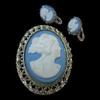 Lovely Blue White Cameo Brooch & Clip Earrings Set