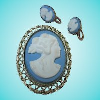 Lovely Blue White Cameo Brooch & Clip Earrings Set