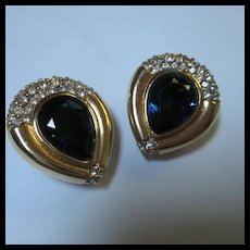 Gorgeous Swarovski SAL Signed Sapphire Blue Crystal Gold plate Clip Earrings
