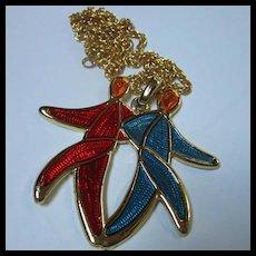 1960s Guilloche Enamel Gemini Twins Iconic Pendant Necklace