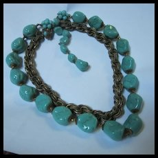 Fabulous Miriam Haskell Chunky Turquoise Glass Nugget Necklace Signed