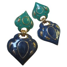 Wonderful  Arabesque Enamel Clip Earrings