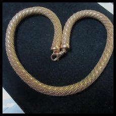 Gorgeous Bronze Tubular Milor Italy Necklace