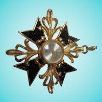 Fabulous Maltese Cross Swiss Made Watch Pendant