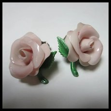 1940s Pink Celluloid Rose Clip Earrings
