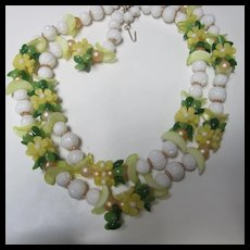 Fun Summery Plastic Flower Bead Double Necklace