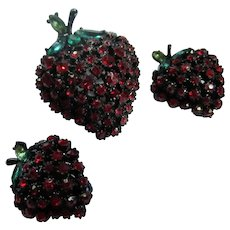 ART signed Japanned Red Strawberry Brooch and Clip Earrings Set