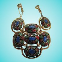 Signed Light of The East Mosaic Matrix Brooch & Earrings Set