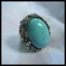 Fabulous fx Turquoise rhinestone adjustable Ring