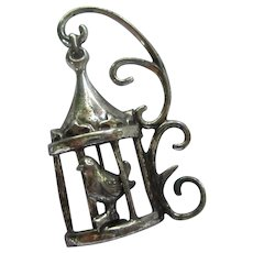 Lang Sterling Silver Bird Cage Brooch