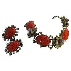 Fabulous Selini Molded Coral Cab AB Bracelet & Earrings
