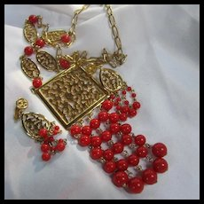 Celebrity NY Signed Red Dangle Necklace Earrings