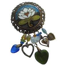 Beautiful Enamel Cloisonne Flower Heart Dangles Brooch