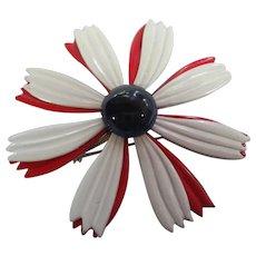 1960s Red White Blue Flower Power Pin